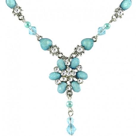 Young Women's Costume Jewellery, Girls Gift, Light Blue Rhinestone Fistulosa Fashion Flower Dangle Necklace