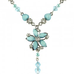 Young Women's Costume Jewellery, Teenage Girls Gift, Light Blue Rhinestone Hemerocallis Fashion Flower Dangle Necklace
