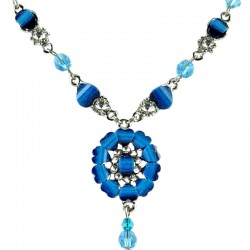 Dark Blue Rhinestone Marigold Fashion Flower Dangle Necklace