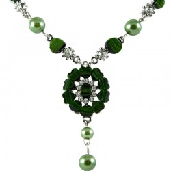 Women's Costume Jewellery Gift, Green Rhinestone Marigold Fashion Flower Dangle Necklace