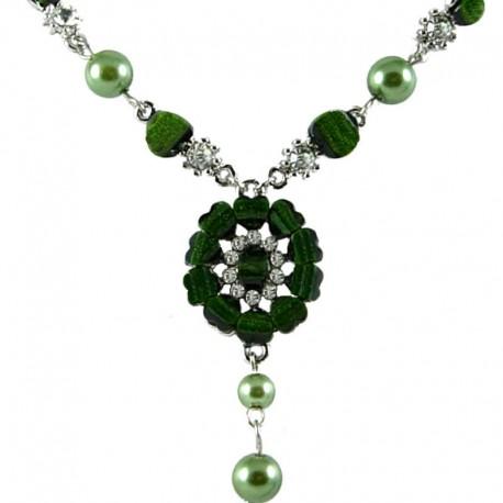 Women's Costume Jewellery Gift, Green Rhinestone Marigold Fashion Flower Dangle Necklace