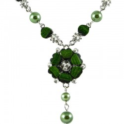 Green Rhinestone Poppy Fashion Flower Dangle Necklace