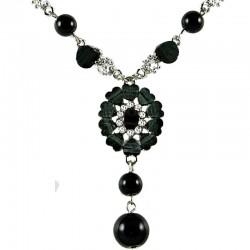 Black Rhinestone Marigold Fashion Flower Dangle Necklace