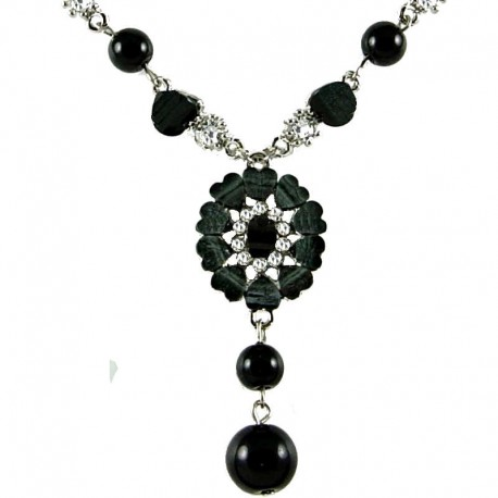 Chic Costume Jewellery, Women's Gift, Black Rhinestone Marigold Fashion Flower Dangle Necklace