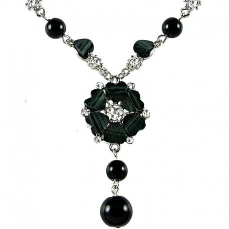 Chic Costume Jewellery, Women's Gift, Black Rhinestone Poppy Fashion Flower Dangle Necklace