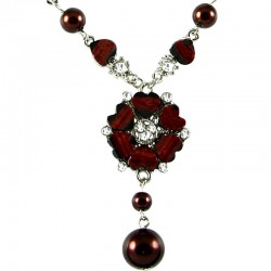 Dark Brown Rhinestone Poppy Fashion Flower Dangle Necklace
