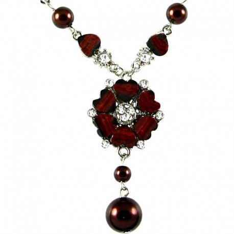 Chic Costume Jewellery, Mum Mother Gift, Dark Brown Rhinestone Poppy Fashion Flower Dangle Necklace
