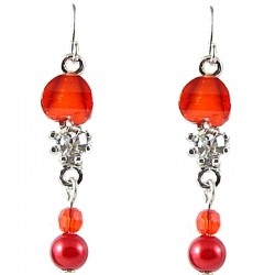 Red Rhinestone clear Diamante Pearl Dainty Drop Earrings