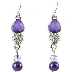 Small Dangle Costume Jewellery, Fashion Women's Gift, Purple Rhinestone Pearl Dainty Drop Earrings
