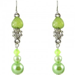 Lime Green Rhinestone Pearl Dainty Drop Earrings