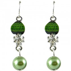 Green Rhinestone Pearl Dainty Drop Earrings