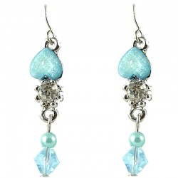 Young Women's Costume Jewellery, Teen Girls Gift, Light Blue Rhinestone Pearl & Bead Dainty Drop Earrings