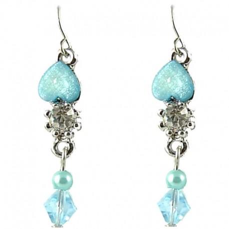Young Women's Costume Jewellery, Teen Girls Gift, Light Blue Rhinestone Pearl & Bead Dainty Drop Earrings