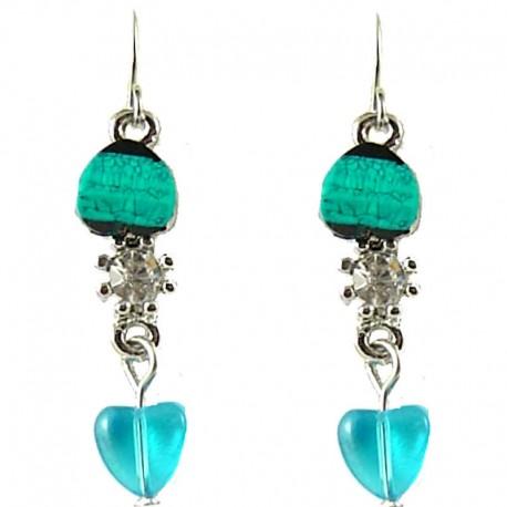 Young Women's Costume Jewellery, Teen Girls Gift, Aqua Blue Rhinestone Heart Bead Dainty Drop Earrings