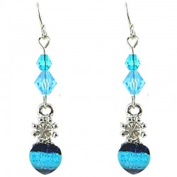 Young Women's Costume Jewellerty, Girls Gift, Blue Rhinestone Bead Dainty Drop Earrings