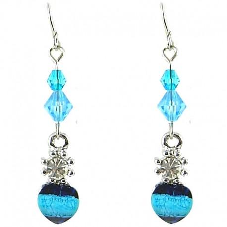 Young Women's Costume Jewellerty, Girls Gift, Blue Rhinestone Bead Dainty Drop Earrings