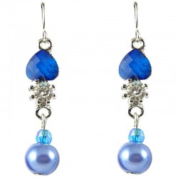Royal Blue Rhinestone Pearl Dainty Drop Earrings