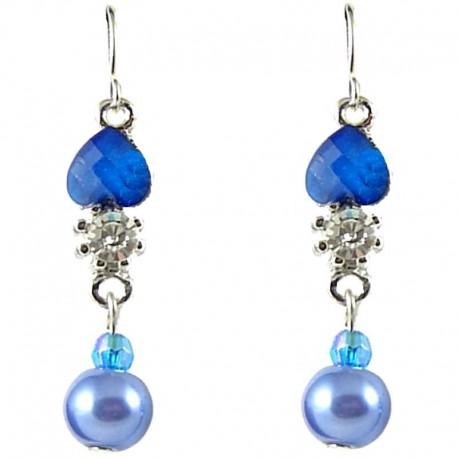 Royal Blue Rhinestone Pearl Dainty Drop Earrings