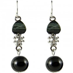 Black Rhinestone Pearl Dainty Drop Earrings