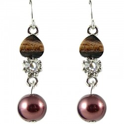 Chic Costume Jewellery, Mother Mum Gift, Brown Rhinestone Pearl Dainty Drop Earrings