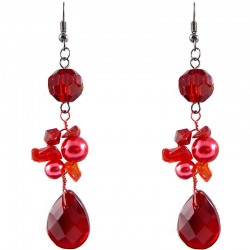 Handcrafted Burgundy beaded Costume Jewellery, Handmade Fashion Women Gift, Red Teardrop Bead Drop Earrings