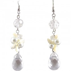 Clear Teardrop Bead Drop Earrings