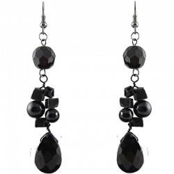 Black Teardrop Bead Drop Earrings