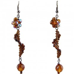 Handcrafted Women Bead Costume Jewellery, Fashion Handmade Gift, Brown Flower Twist Beaded Earrings