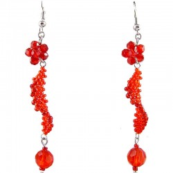 Handmade Bead Costume Jewellery, Fshion women Handcrafted Gift, Red Flower Twist Beaded Earrings