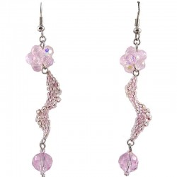 Pink Flower Twist Beaded Earrings