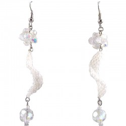 White Flower Twist Beaded Earrings