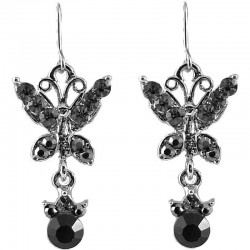 Fashion Costume Jewellery, Women's Girls Gift, Black Diamante Butterfly Drop Earrings