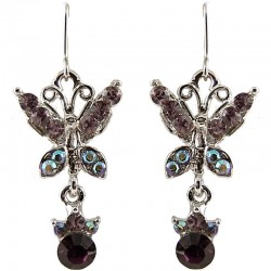 Fashion Women's Costume Jewellery Gift, Purple Diamante Butterfly Drop Earrings