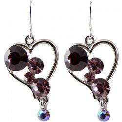 Chic Fashion Bling Costume Jewellery, Young Women Girls Gift, Purple Diamante Heart Drop Earrings
