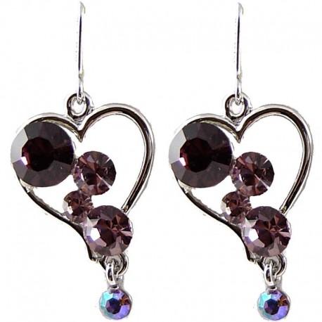 Chic Fashion Bling Costume Jewellery, Young Women Girls Gift, Purple Diamante Heart Drop Earrings