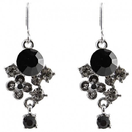 Trendy Chic Bling Costume Jewellery, Fashion Women Girls Gift, Black Twilight Diamante Drop Earrings