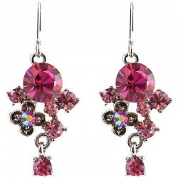 Fashion Young Women Girls Gift, Chic Trendy Costume Jewellery, Hot Pink Twilight Diamante Drop Earrings