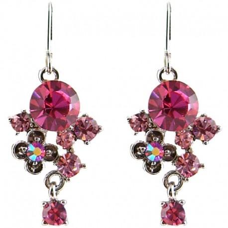 Fashion Young Women Girls Gift, Chic Trendy Costume Jewellery, Hot Pink Twilight Diamante Drop Earrings