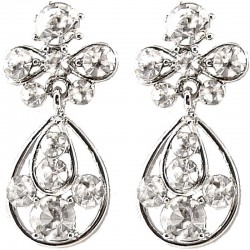 Trendy Fashion Women Gift, Chic Costume Jewellery, Clear Diamante My Lady Teardrop Short Drop Earrings