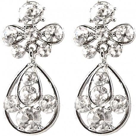 Trendy Fashion Women Gift, Chic Costume Jewellery, Clear Diamante My Lady Teardrop Short Drop Earrings