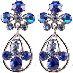 Fashion Women Gift, Chic Trendy Costume Jewellery, Royal Blue Diamante My Lady Teardrop Short Drop Earrings