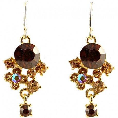 Fashion Young Women Gift, Chic Trendy Costume Jewellery, Brown Twilight Diamante Drop Earrings