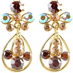 Fashion Women Gift, Chic Costume Jewellery, Gold Plated Brown Diamante My Lady Teardrop Short Drop Earrings