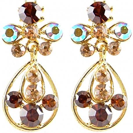 Fashion Women Gift, Chic Costume Jewellery, Gold Plated Brown Diamante My Lady Teardrop Short Drop Earrings