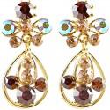 Brown Diamante My Lady Teardrop Short Drop Earrings