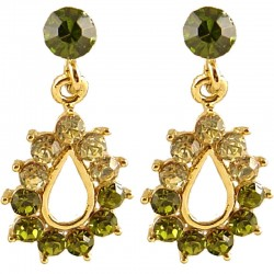 Chic Trendy Costume Jewellery, Fashion Women Gift, Green Diamante Teardrop Short Drop Earrings