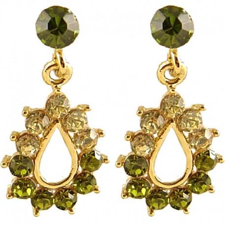 Chic Trendy Costume Jewellery, Fashion Women Gift, Green Diamante Teardrop Short Drop Earrings