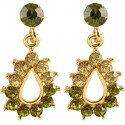 Green Diamante Teardrop Short Drop Earrings