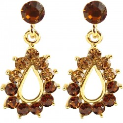 Young Women Costume Jewellery, Trendy Fashion Gift, Brown Diamante Teardrop Short Drop Earrings