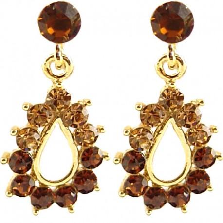 Young Women Costume Jewellery, Trendy Fashion Gift, Brown Diamante Teardrop Short Drop Earrings